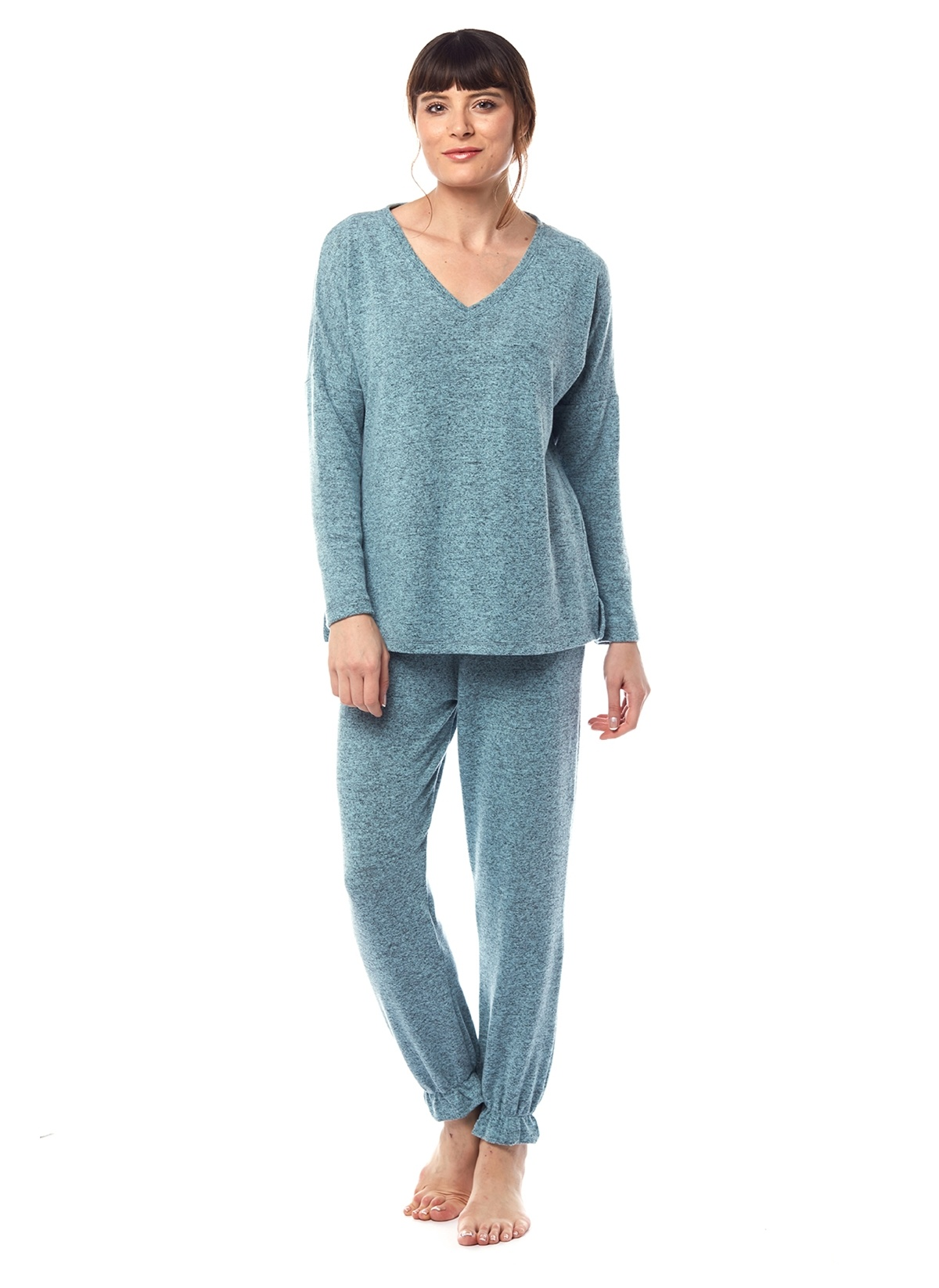 Kadın Pamuk & Yeşil Melanj Spor Pijama Takımı
